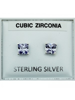 Sterling Silver CZ Square Studs - Purple (5mm)