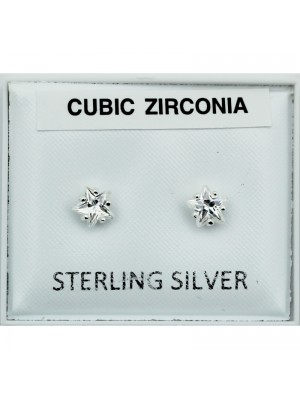 Sterling Silver CZ Star Studs - clear (5mm)