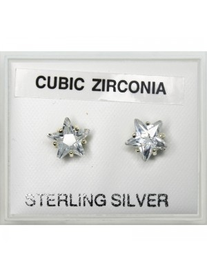 Sterling Silver CZ Star Studs 7mm - Clear