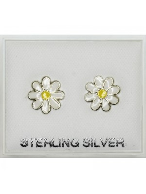 Sterling Silver Daisy Flower Citrine 5mm