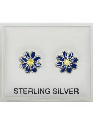 Sterling Silver Daisy Flower- Cobalt