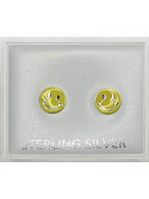 Sterling Silver Double Smiley Face Earring Studs (4mm)