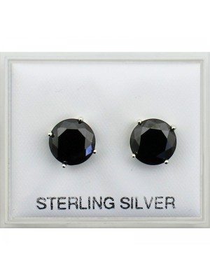 Sterling Silver Faceted Round Stones Studs - Black 8mm