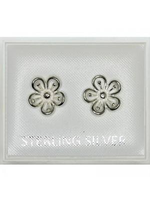 Sterling Silver Flower Design (8mm)