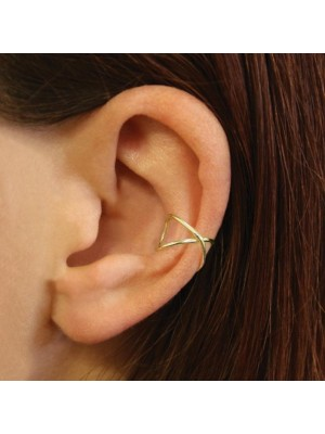 Wholesale Sterling Silver Gold Crossover Band Ear Cuff