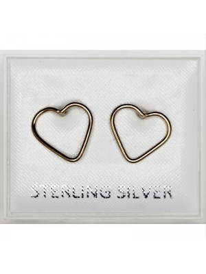 Sterling Silver Gold Heart Studs - 10mm
