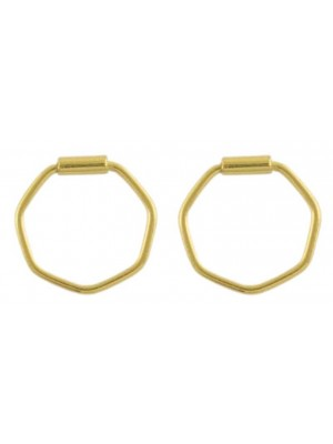 Wholesale Sterling Silver Gold Hexagon Hoop Earrings - 10mm