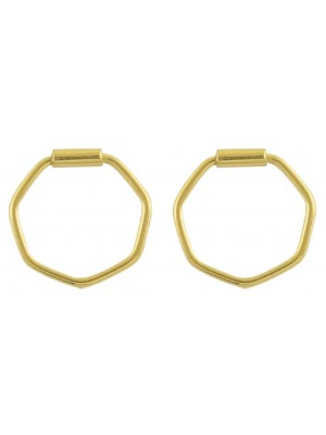 Wholesale Sterling Silver Gold Hexagon Hoop Earrings - 12mm