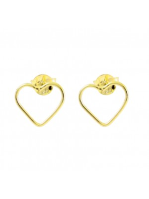 Sterling Silver Gold Plated Cut Out Heart Studs - Gold