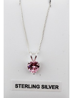Sterling Silver Heart Shaped Pendant Pink Crystal
