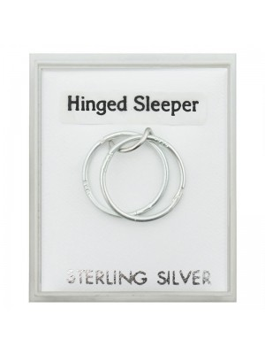 Sterling Silver Hinged Plain Sleepers (12mm)