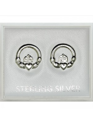 Sterling Silver Irish Claddagh Heart Studs 9mm