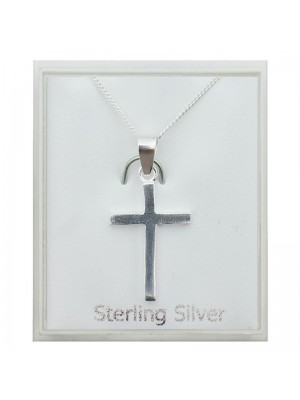 Sterling Silver Large Cross Pendant Necklace (20mm)