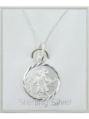 Sterling Silver Large St Christopher Pendant Necklace (15mm)