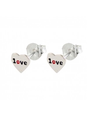 Sterling Silver Love In a Heart Shaped Studs
