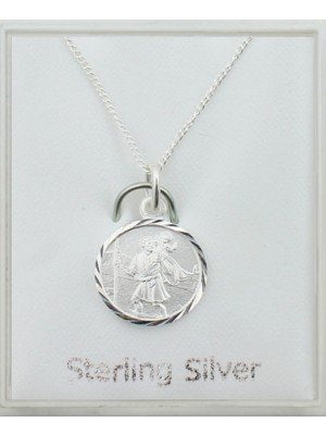 Sterling Silver Medium St Christopher Pendant Necklace (12mm)