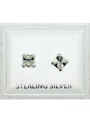 Sterling Silver Square Studs - 5mm