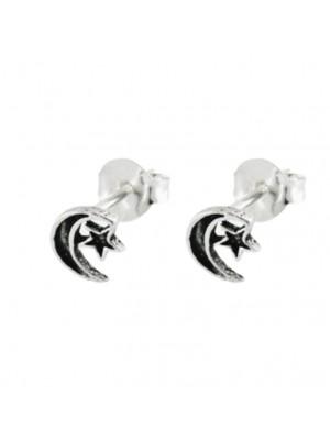 Sterling Silver Moon & Star Design Ear Studs