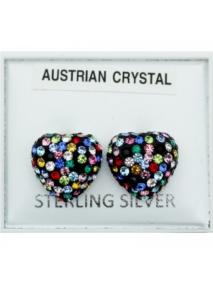 Sterling Silver Multicoloured Austrian Crystal Heart Studs - 11mm