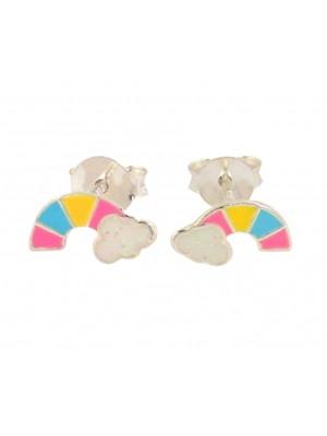 Wholesale Sterling Silver Multicoloured Rainbow Stud Earring