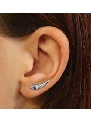 Sterling Silver Pair of Mini Feather Ear Crawlers