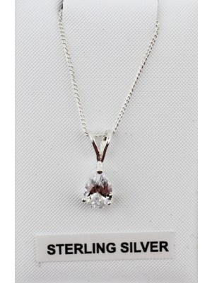 Sterling Silver Pear Shaped Pendant Clear Crystal