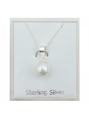 Sterling Silver Pearl Pendant Necklace (8mm)