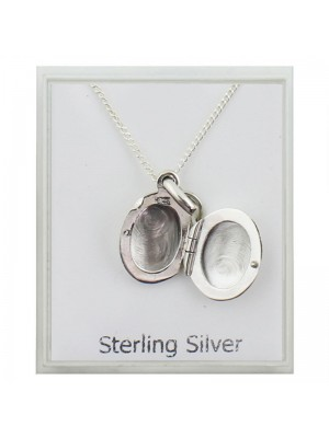 Sterling Silver Photo Locket Pendant Necklace (8mm)