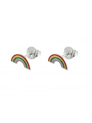 Sterling Silver Rainbow Stud Earring