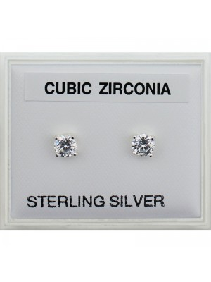 Sterling Silver Round CZ Studs 6mm