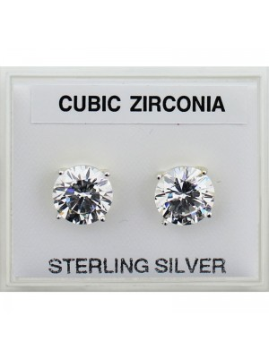 Sterling Silver Round CZ Studs 8mm