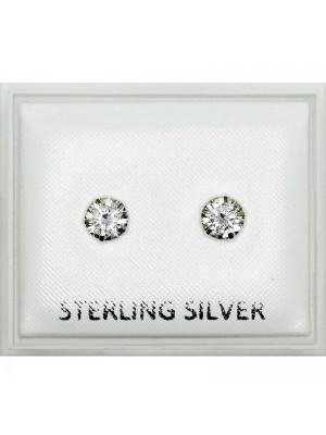Sterling Silver Round Gem Studs - 5mm