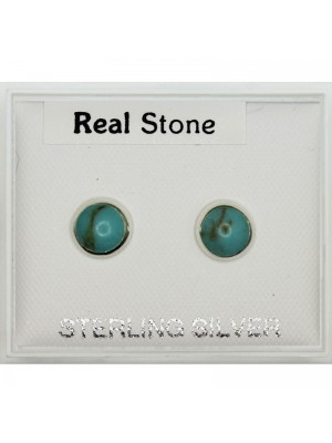 Sterling Silver Round Studs With Turquoise Stone 6mm