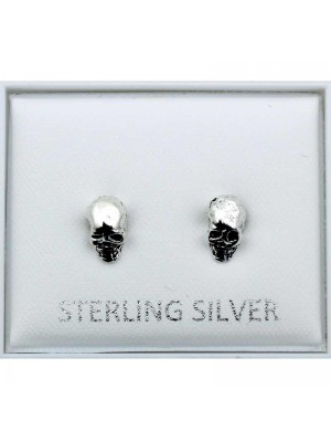 Sterling Silver Skull Design Studs - 7mm