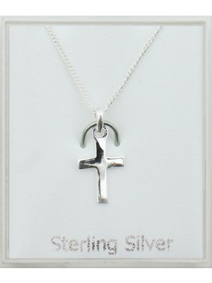 Sterling Silver Small Cross Pendant Necklace (13mm)
