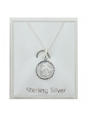 Sterling Silver Small St Christopher Pendant Necklace (10mm)