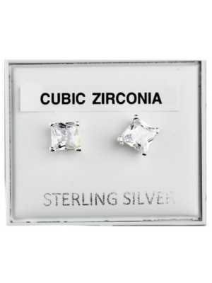 Sterling Silver Square CZ Studs - 5mm
