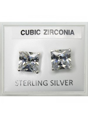 Sterling Silver Square CZ Studs 8mm