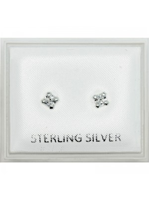 Sterling Silver Square Gem Studs - 4mm
