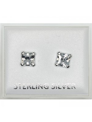 Sterling Silver Square Gem Studs - 6mm