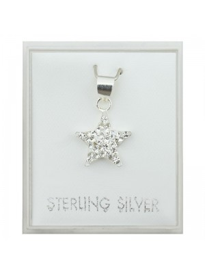 Sterling Silver Star Shaped Pendant with Crystals (10mm)