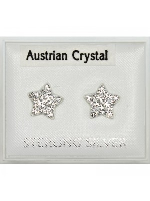 Sterling Silver Star Studs - Asst. Colours (8mm)