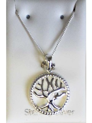 Sterling Silver Tree of Life Necklace-18mm