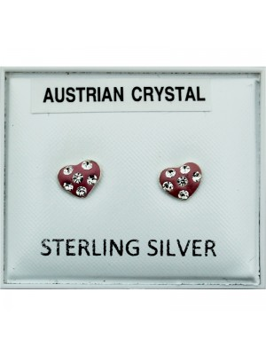 Sterling Silver  Austrian Crystal Heart Studs - 5mm