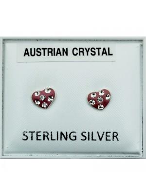 Sterling Silver Austrian Crystal Heart Studs - 5mm