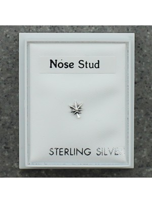 Sterling Silver Cannabis Leaf Nose Stud - 5mm