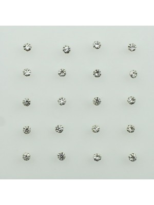Sterling Silver Round Claw Set Nose Pins - Clear (2mm)