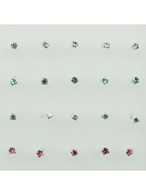 Sterling Silver Square Claw Set - Assorted Colours (2mm)