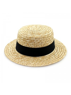 Straw Hat With A Black Band - 57cm