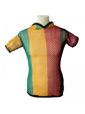 String T-Shirts With Hood - Rasta Colours (Assorted Sizes)